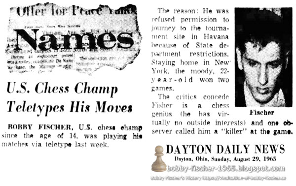 U.S. Chess Champ Teletypes His Moves