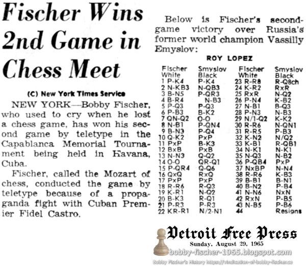 Fischer Wins 2nd Game in Chess Meet