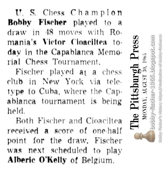 U.S Champion Bobby Fischer vs. Victor Cioaciltea