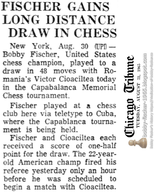 Fischer Gains Long Distance Draw In Chess