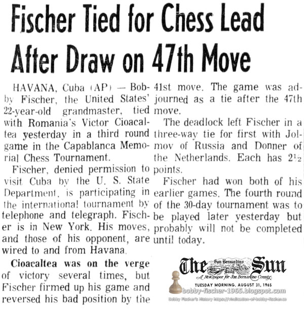Fischer Tied for Chess Lead After Draw on 47th Move