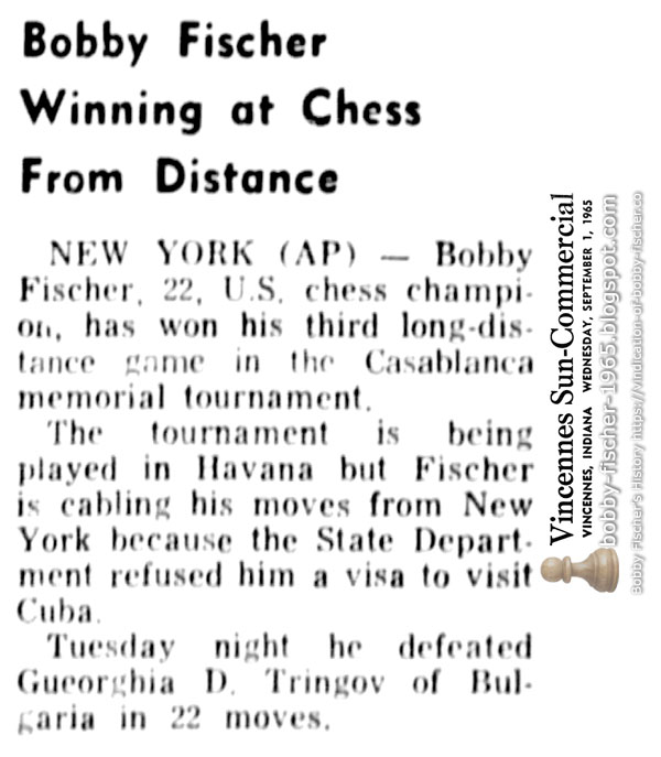 Bobby Fischer Winning at Chess From Distance