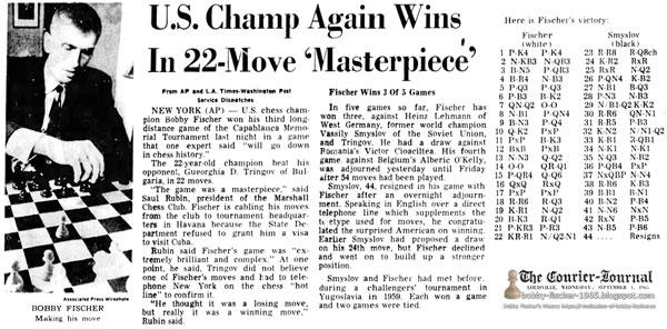 U.S. Champ Again Wins In 22-Move 'Masterpiece'