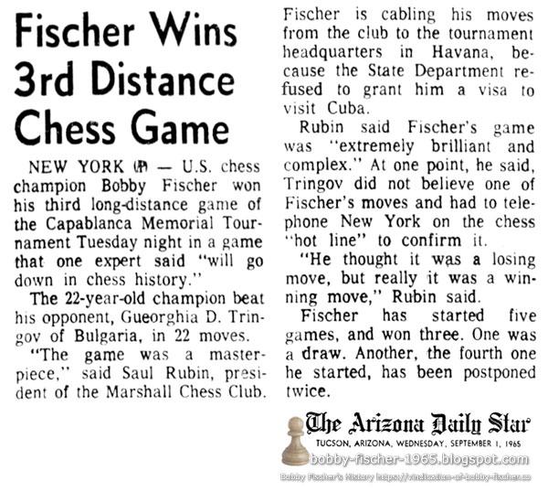 Fischer Wins 3rd Distance Chess Game