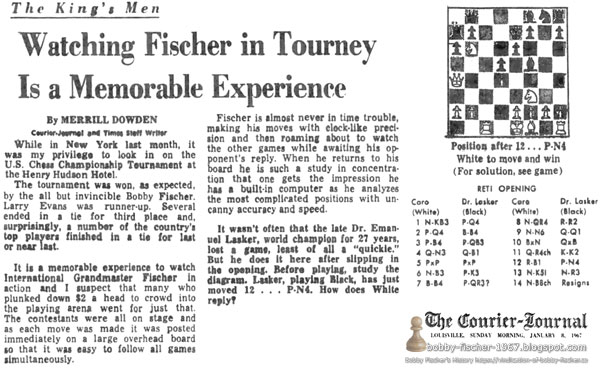 Watching Fischer in Tourney Is a Memorable Experience