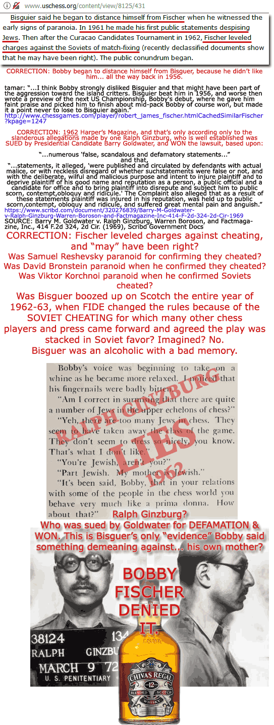 The deceptions of Arthur Bisguer and the actual events that took place in 1962/1963, in which FIDE interceded and rules were changed to prevent further Soviet Cheating.