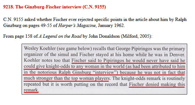 Bobby Fischer denied claims made by Ginzburg in Harper's Magazine 1962 article