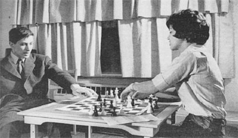 Bobby Fischer and Lisa Lane Playing Chess